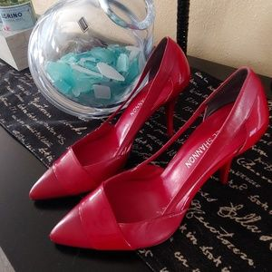 Red Leather Heels with open sides ❤